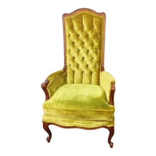 Broyhill Mid Century Green Velvet Tufted High Back Accent Chair
