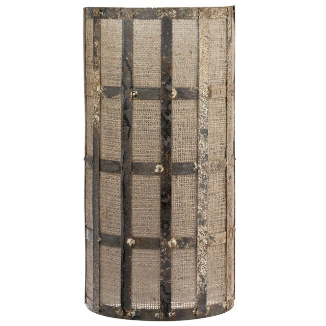 Recycled Zinc And Burlap Wall Sconce Chairish