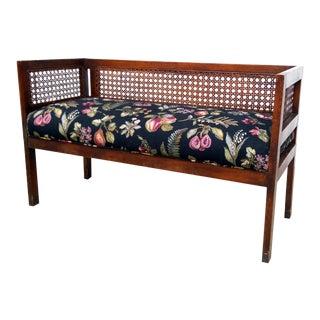 Vintage Fruit & Floral Cane Settee Bench