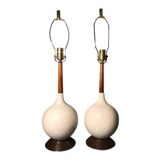 Mid-Century Danish White Ceramic & Teak Lamp - A Pair