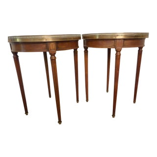 Continental Gueridon Marble Top Tables - A Pair