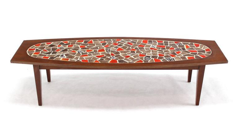 Oval Mossaic Tile Top Rectangular Boat Shape Walnut Long Coffee Table.    Image 2 Of