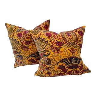 Vibrant Golden Yellow Velvet Pillows - A Pair