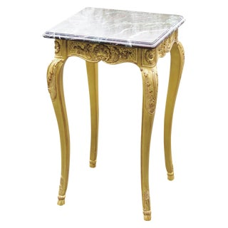 E.J. Victor Louis XV Style Gilt Carved Marble Top Stand