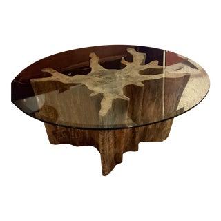 Vintage Cypress Wood Coffee Table