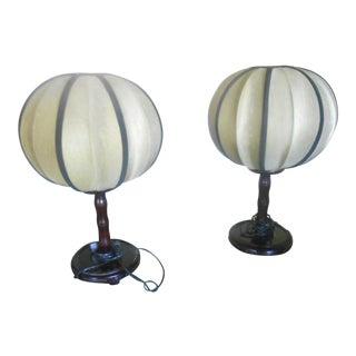 Faux Bamboo Mandarin Table Lamps - A Pair