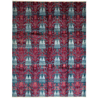 New Ikat Hand Knotted Area Rug - 9' x 12'1""