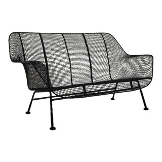 Russell Woodard Sculptura Woven Wire Outdoor / Patio Settee Loveseat