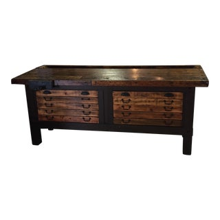 Antique Rustic Wood Workbench