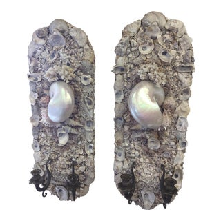 Shell Wall Sconces - A Pair