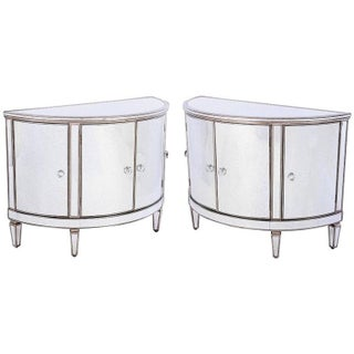 Mirrored Demilune Cabinets - A Pair