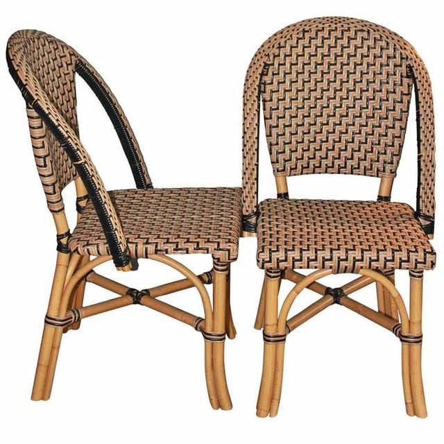 Faux cane bistro chairs pair chairish - Cane bistro chairs ...
