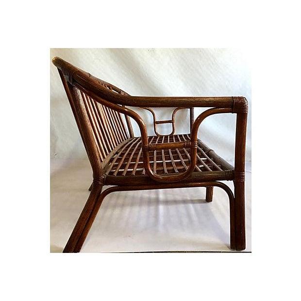Image of Vintage 1970s Rattan Single Cushion 4 Pc. Sofa