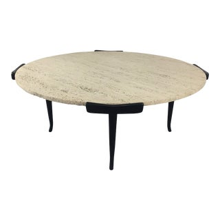 Italian Travertine & Ebonized Wood Coffee Table in the Style of Ico Parisi