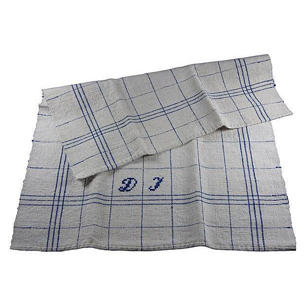 Hand-Spun, Embroidered French Blue Tea Towels - 6 - Image 5 of 5