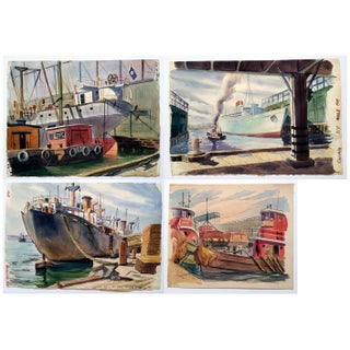 Dock Harbor Ship Watercolors - Set of 4