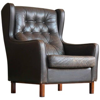 Børge Mogensen Style Tufted High Back Wing Chair