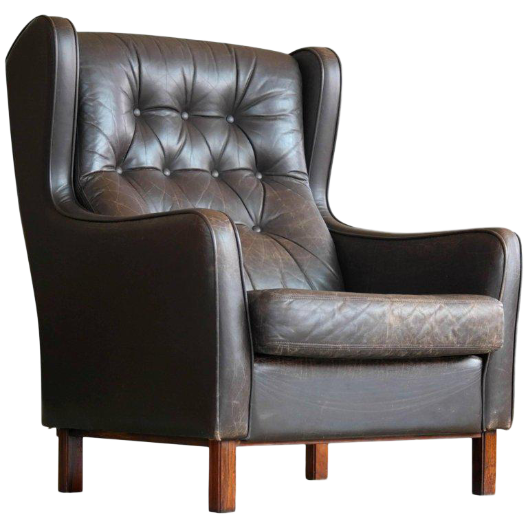 brge mogensen style tufted high back wing chair