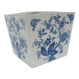 Large Vintage Blue & White Flower Frog/Cube