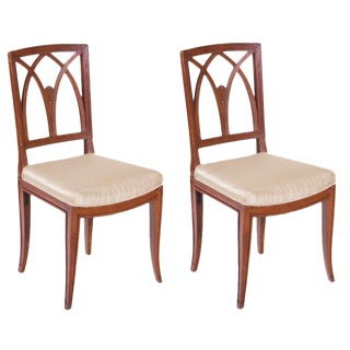 Italian Walnut Chairs - A Pair