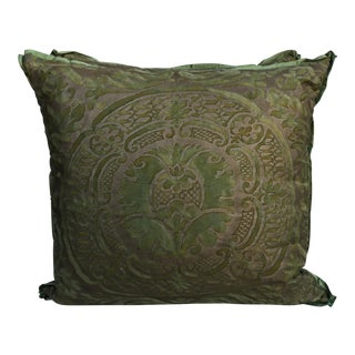 Orsini Green & Gold Fortuny Pillows - A Pair