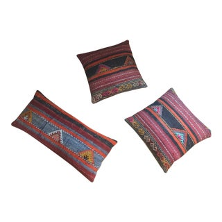 Vintage Turkish Kilim Pillows - Set of 3