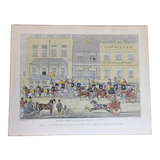 Hand Colored British Coaching Scene Engraving