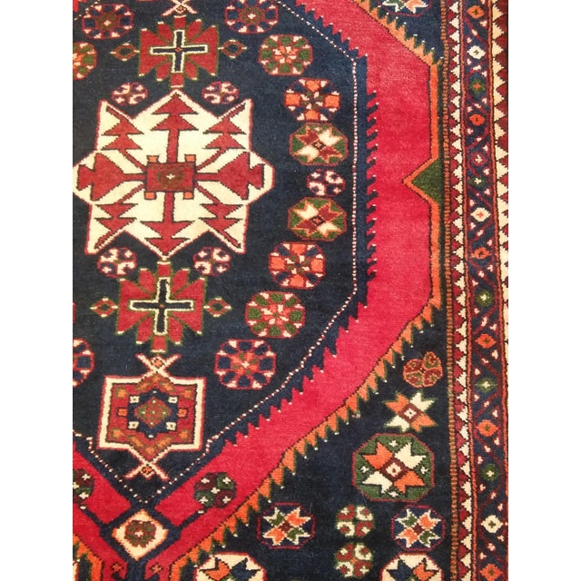 """Navy & Red Persian Tribal Runner - 3'7"""" X 9'10"""" - Image 3 of 5"""