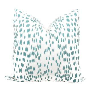 """20"""" x 20"""" Brunschwig Fils Les Touches Aqua & White Decorative Pillow Cover"""