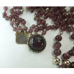 Image of 1970s French 3 Tiered Purple Glass Necklace