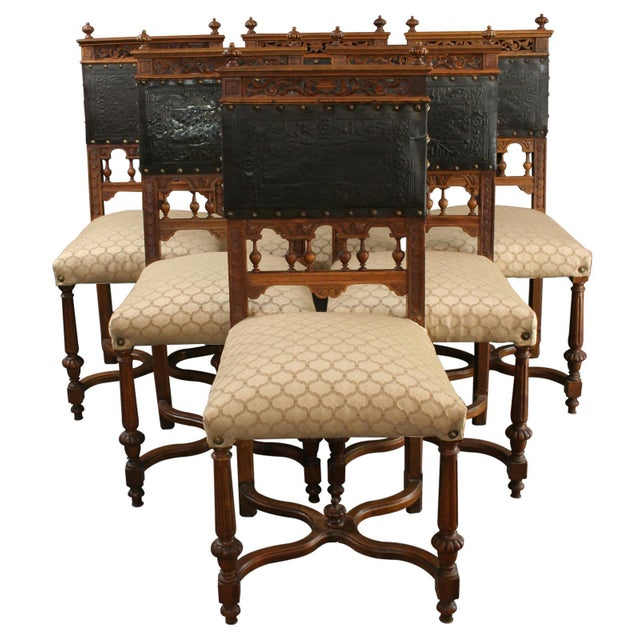 Image of Antique French Renaissance Dining Chairs - S/6