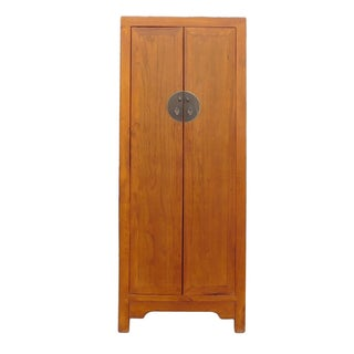 Chinese Brown Tall Narrow Storage Wardrobe Cabinet