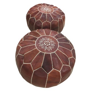 Traditional Moroccan Leather Pouf - Pair