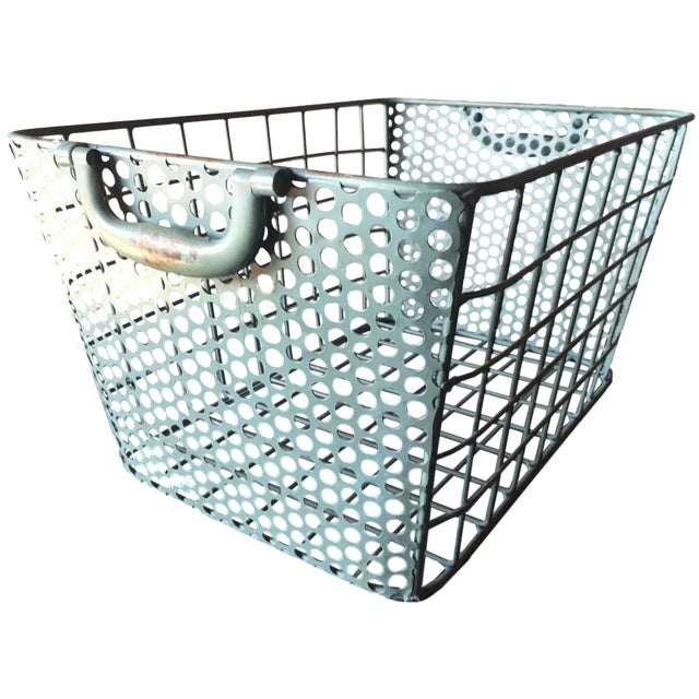 Image of Blue Metal Perforated Industrial Style Basket