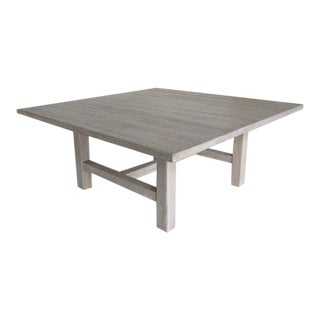 Custom Large Square Oak Table with White Ceruse Finish