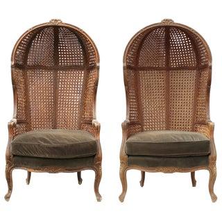 Vintage Canopy Grey Velvet Chairs - Pair