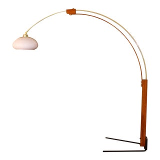 1970s Vintage Bentwood & Brass Arch Lamp
