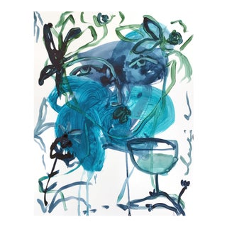 "Leslie Weaver ""Blue Green Flowers and Wine"" Abstract Painting"