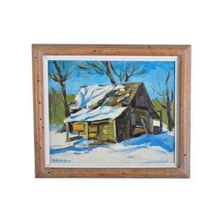 "D.M. Hughes ""Barn in the Snow"" Oil Painting"