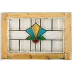 Image of Antique English Stained & Leaded Glass Window