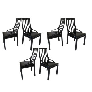 Patent Leather Seat Dining Chairs - Set of 6