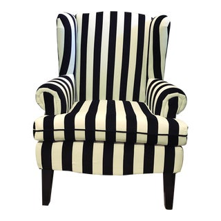 Striped Velvet Armchairs - a Pair