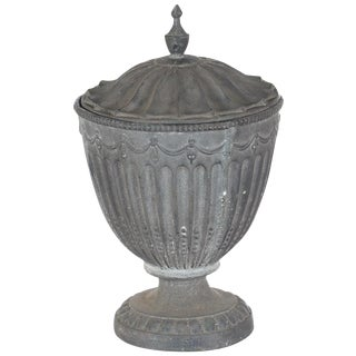 Antique Large Outdoor Lidded Metal Urn