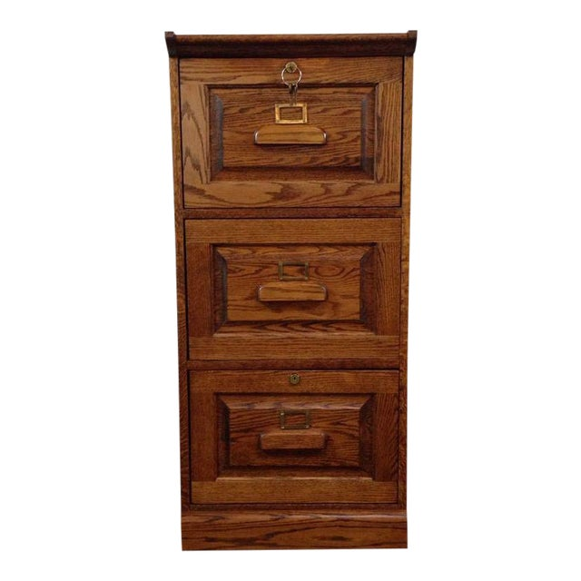 Vintage Carved Oak 3 Drawer Filing Cabinet - Image 1 of 4