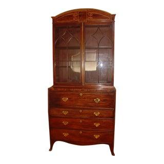 Antique Regency Mahogany Drop Front Desk Cabinet
