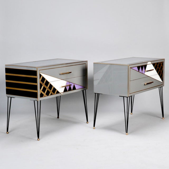 Pair of Italian Two-Drawer Cabinets with Murano Glass and Brass Inlays - Image 11 of 11