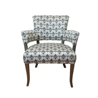 Vintage Gray Floral Accent Chair
