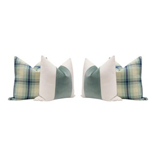 Plaid Tweed and Patina Velvet Panel Pillows - Set of 4