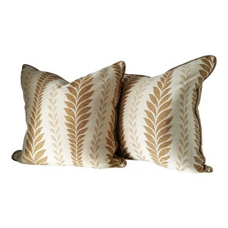 Elegant Bronze and Gold Pillows - a Pair