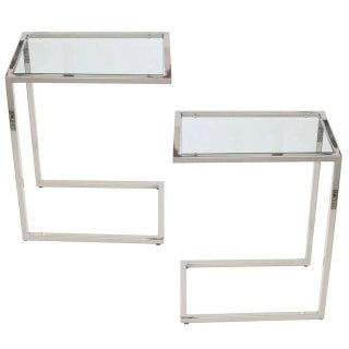 1970s Vintage Milo Baughman Thin Line Polished Chrome and Glass Side Tables - a Pair